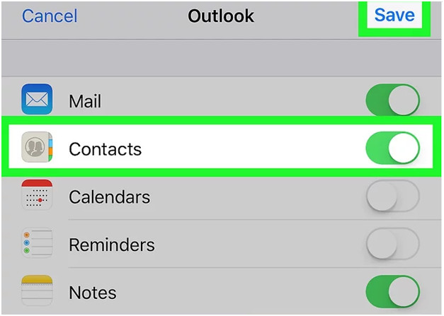Syncing Outlook contacts in iPhone
