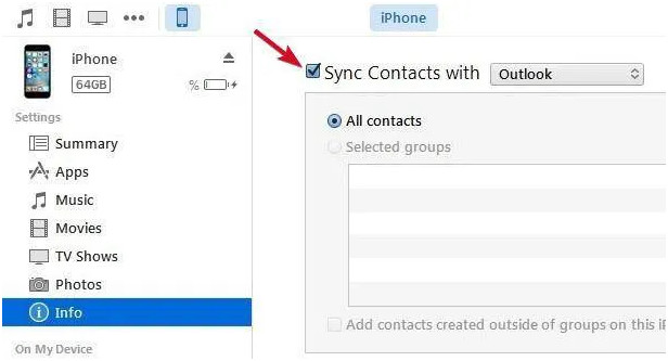 Syncing outlook contacts with iTunes in iPhone