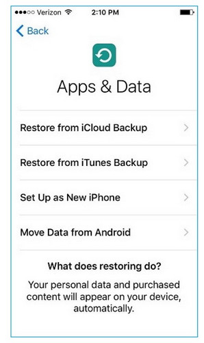 choose to restore from iTunes backup