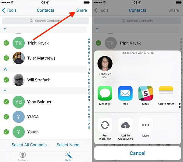 transfer contacts iphone without icloud 9