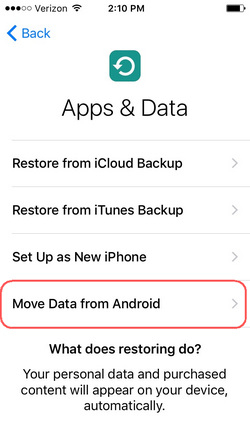 transfer data from sony to iphone