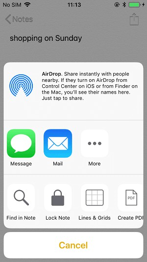 transfer notes to new iPhone with Airdrop