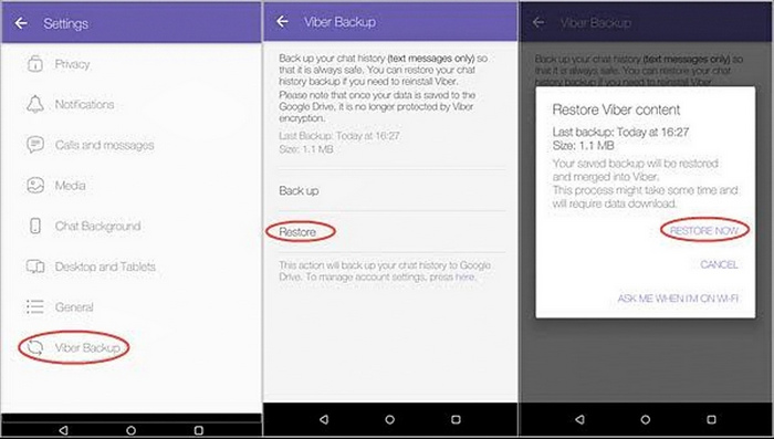 transfer viber to new android 2