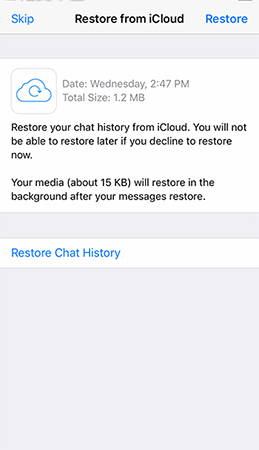 Restore from iCloud history