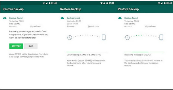 restore whatsapp to new samsung phone