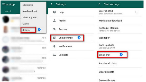 transfer WhatsApp chats to email