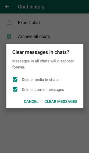 whatsapp clear chat vs delete chat 10