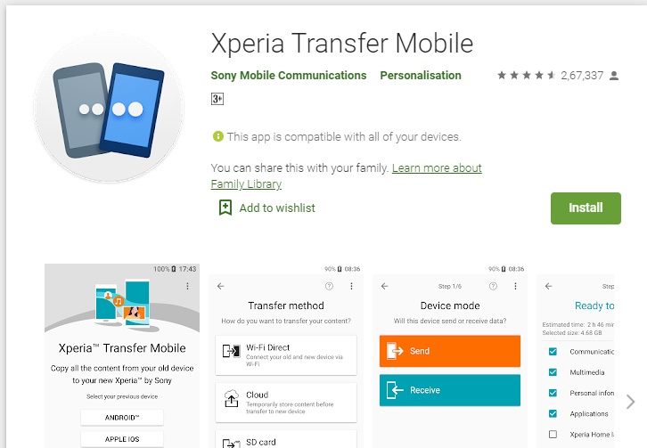 Xperia transfer mobile not working 7