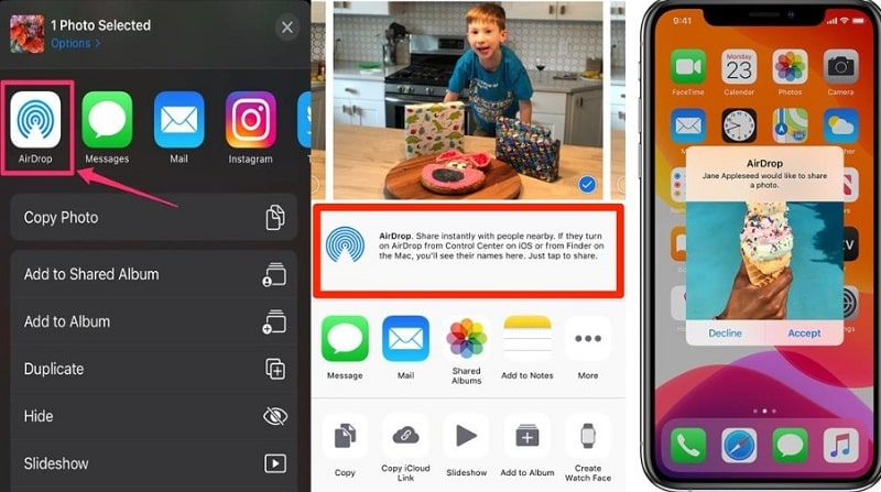 use airdrop to migrate photos to iphone 13