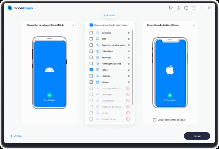 Transferir contatos de iphone para iphone