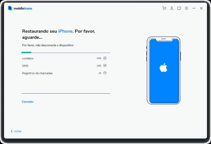 Restaurando o backup do iCloud para seu dispositivo iOS - 3º Passo