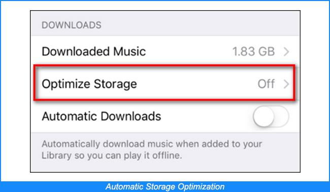 Optimización automática del almacenamiento