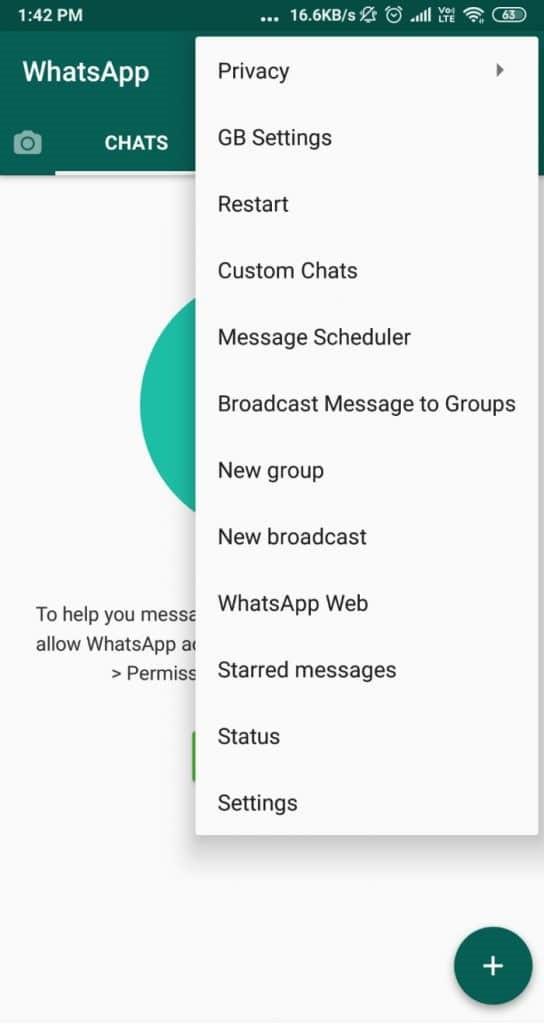 configuración de gbwhatsapp