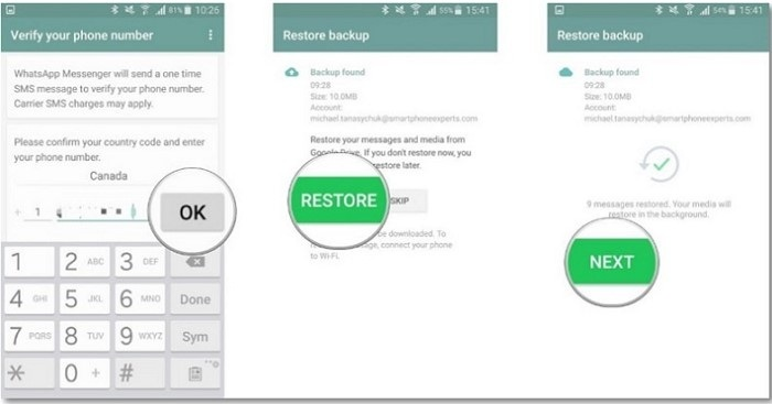 retrieve whatsapp messages from gdrive