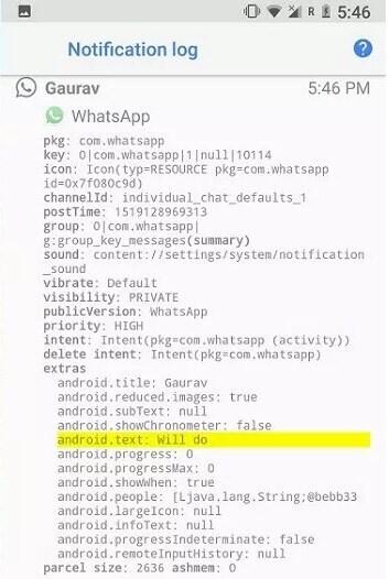 registro de notificaciones de whatsapp