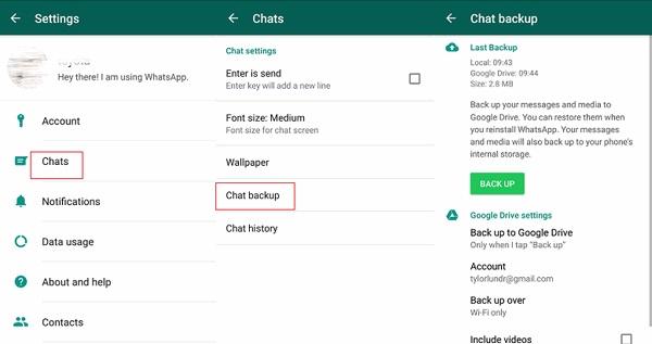 enregistrer la sauvegarde locale de whatsapp