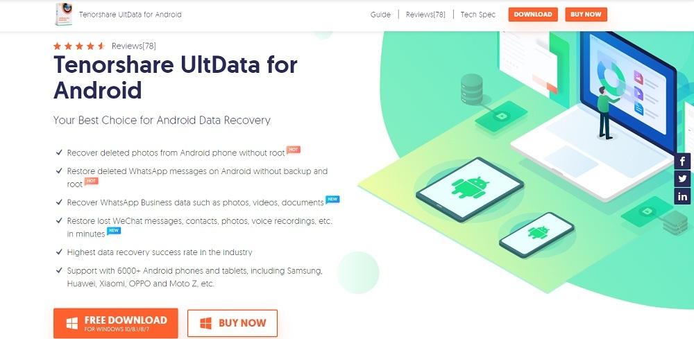 logiciel de récupération des données sur android tenorshare