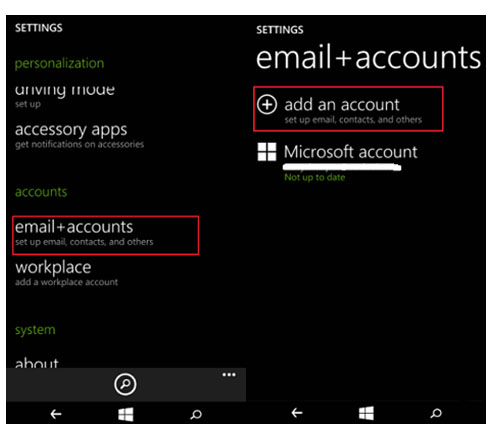 transferir contatos do windows phone para galaxy s8/s7 - e-mail e adicionar conta