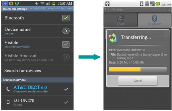 how to transfer from Android to Android -Bluetooth