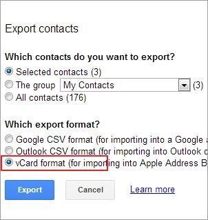 Sicherung der Android-Kontakte-export
