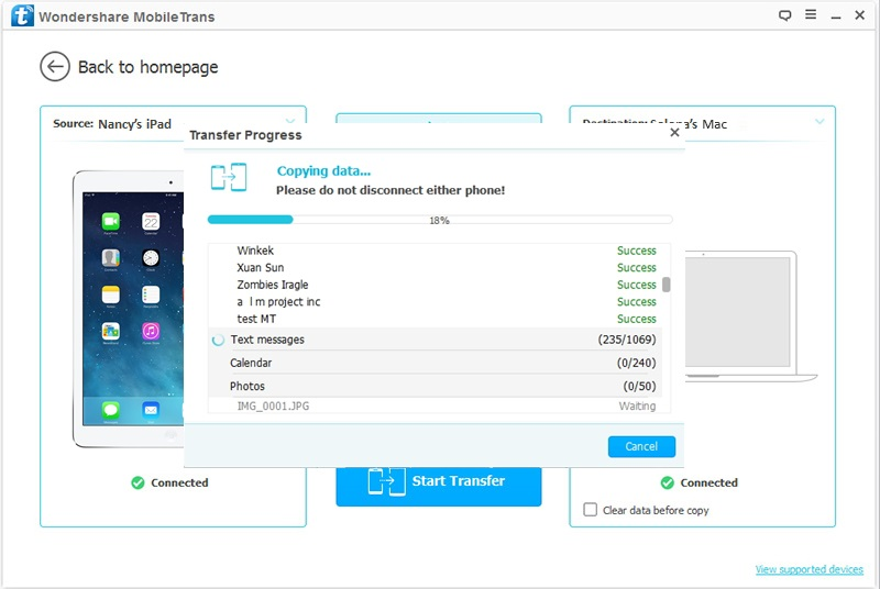 How to Backup iPad to Mac -start transfer