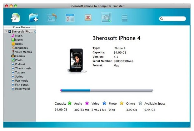 iPhone to Mac Transfer-3herosoft iPhone to Computer Transfer