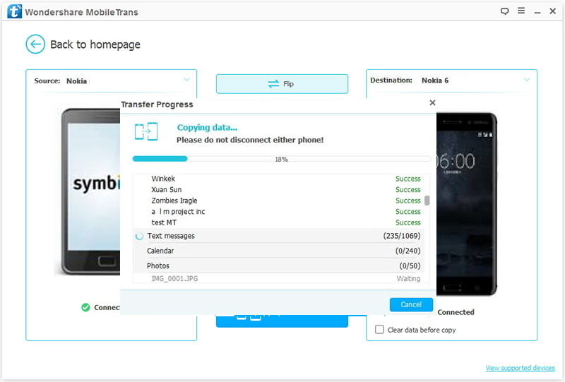 how to transfer from old Nokia to Nokia 6-transferring