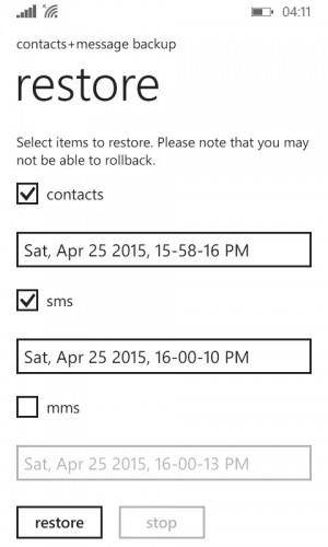 Free solutions to backup and restore windows phone- Restore Backed up Data from an SD