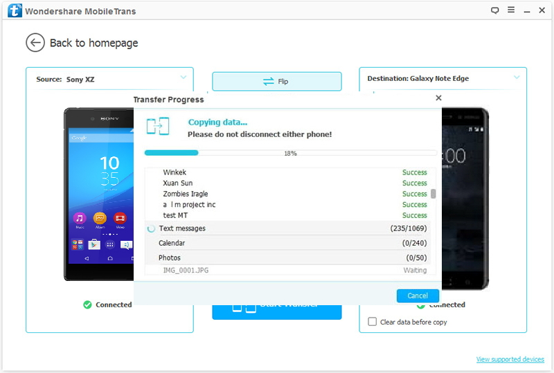 How to Transfer Data from Sony to Nokia 6-Transferring