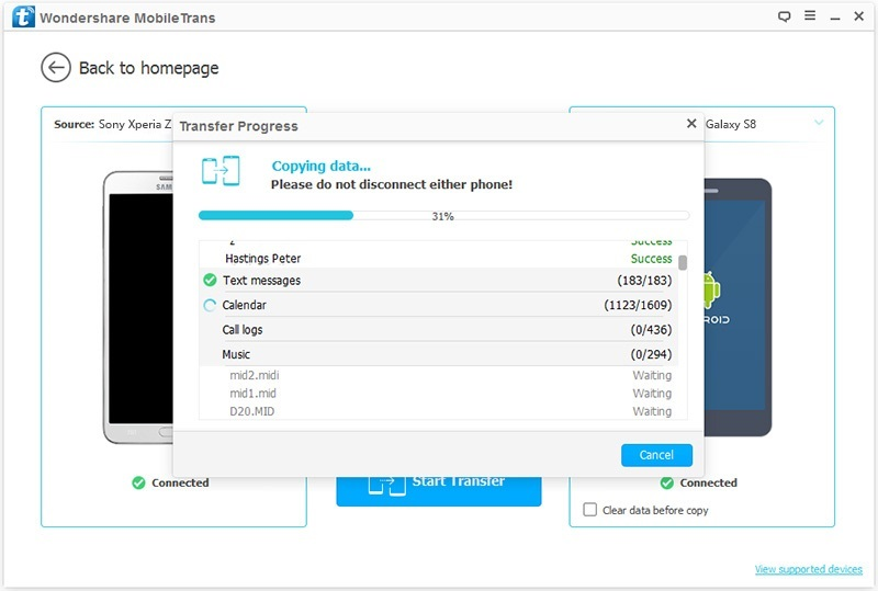 How to transfer sony to Samsung S8-Transfer Data
