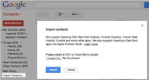 icloud zu Android -auf Import klicken