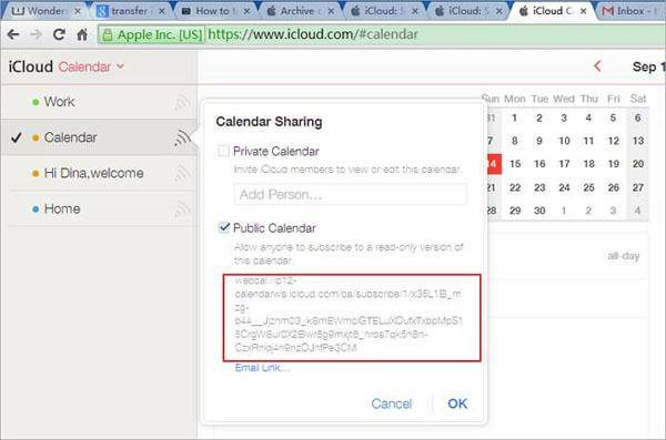 icloud to Android -calendar share