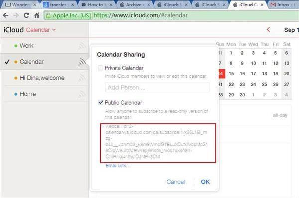 icloud zu Android -Kalenderfreigabe