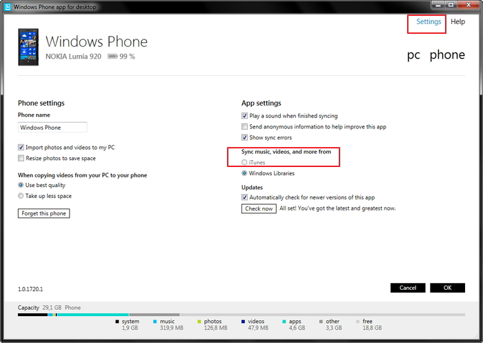 How to copy itunes music to Windows Phone-setting