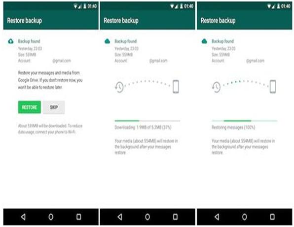 Cómo transferir whatsapp desde Android a Samsung S8-google drive