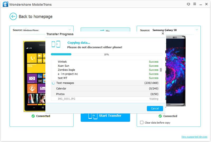 Como Transferir Datos de un Windows Phone a un Samsung S8-Transfiriendo.