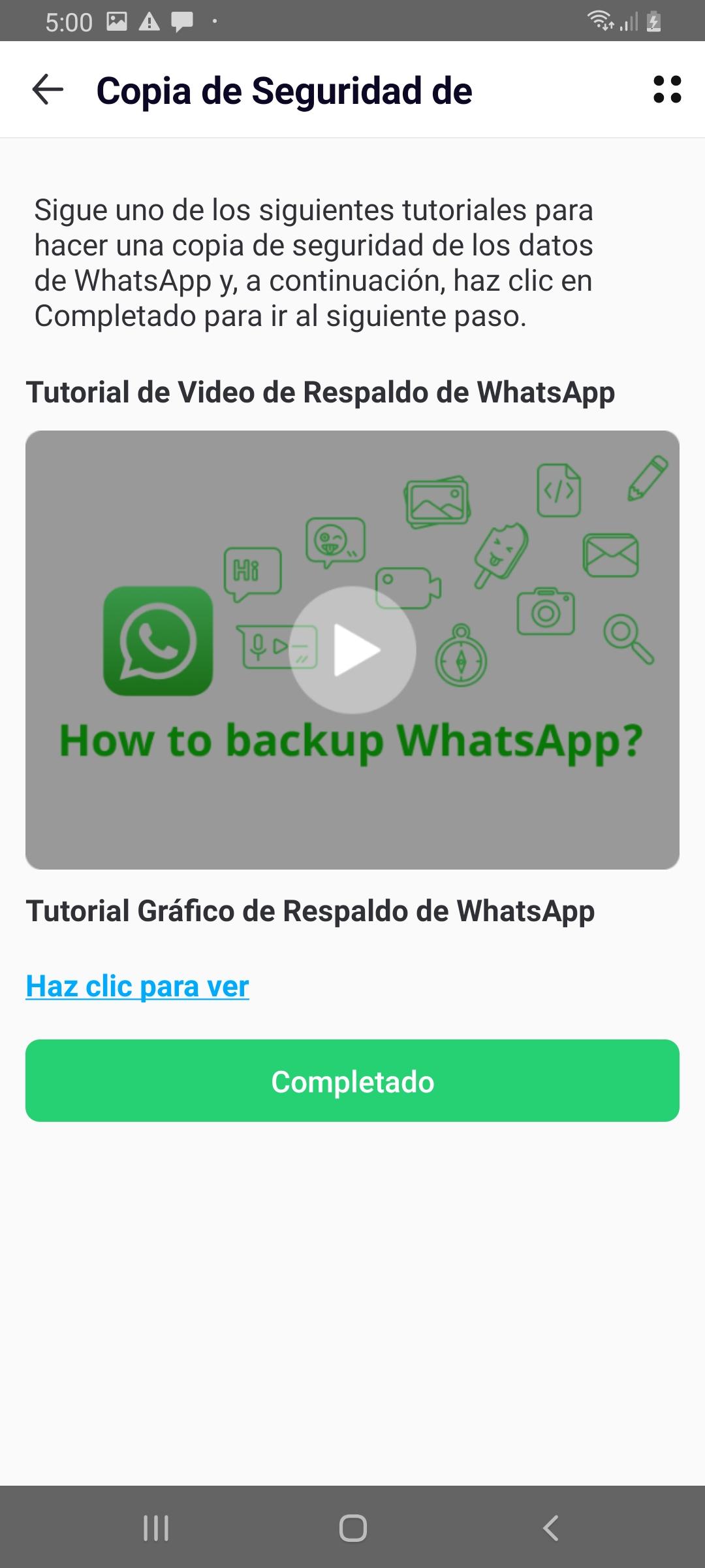 haz una copia de seguridad de tus datos de WhatsApp en Android