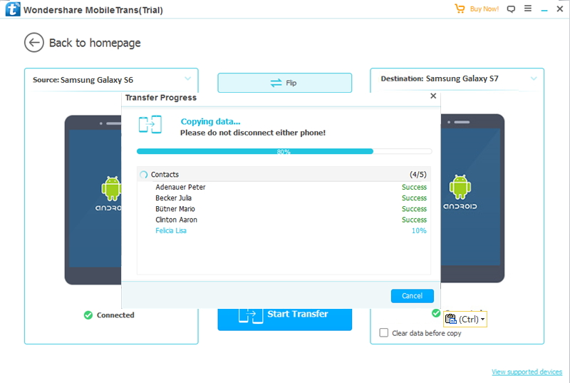 transférer des fichiers depuis Galaxy S6 vers S7 files