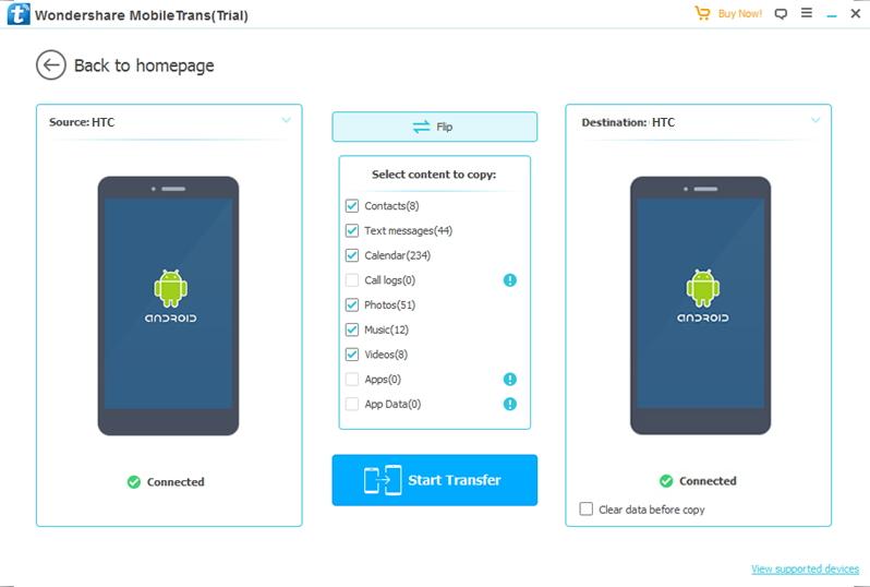 connectez les appareils pour transférer les données depuis HTC vers HTC
