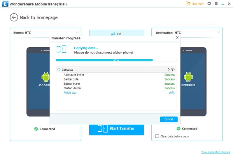 transfert de données depuis HTC vers HTC