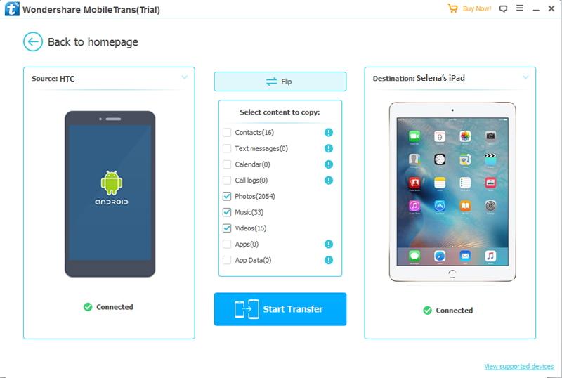 commence a transférer données HTC à iPad