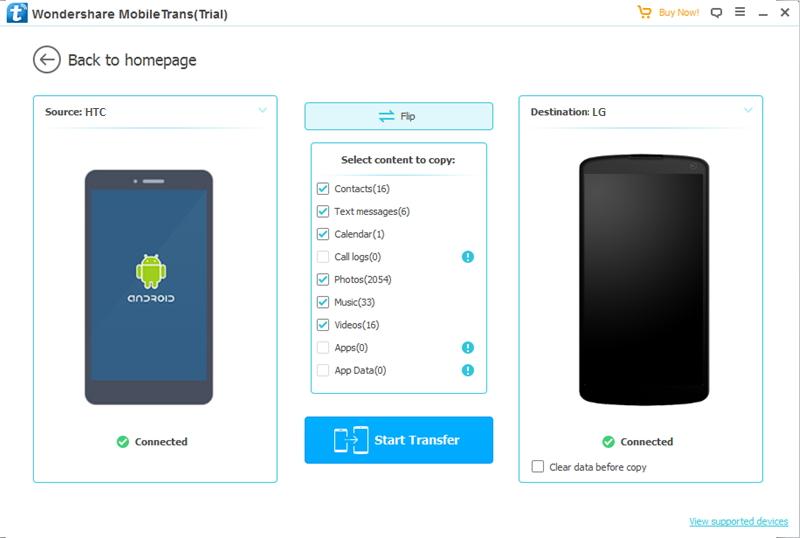sélectionnez des fichiers pour transférer des données depuis HTC vers LG