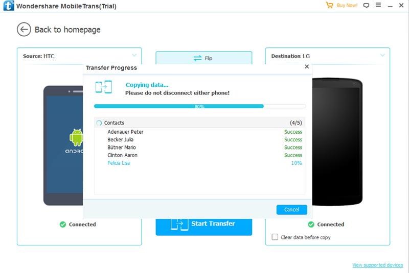 transfert de données depuis HTC vers LG