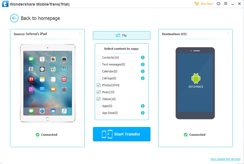 transférer des données depuis iPad vers HTC