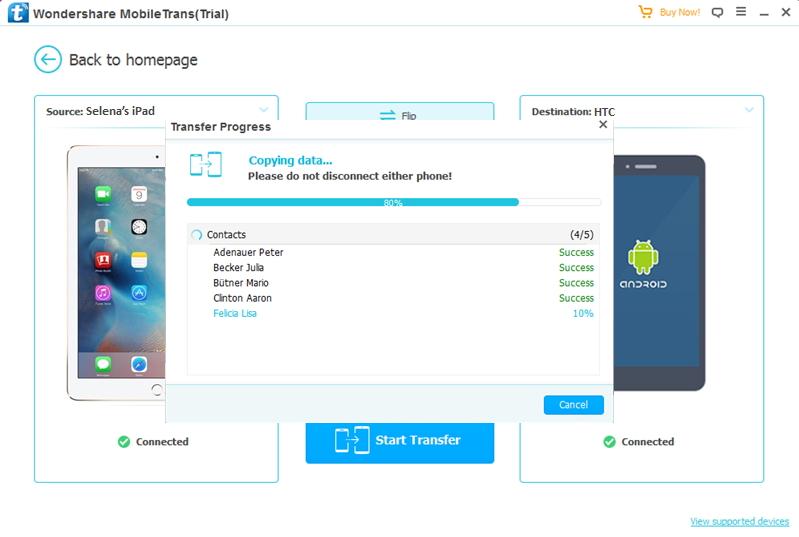 transfert des données depuis iPad vers HTC complété