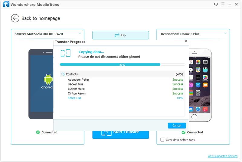 transfert de données depuis Motorola vers iPhone