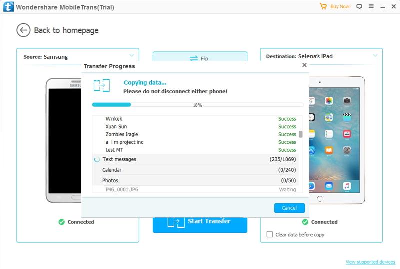 transférer depuis Samsung vers iPad
