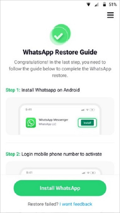 restore whatsapp on android