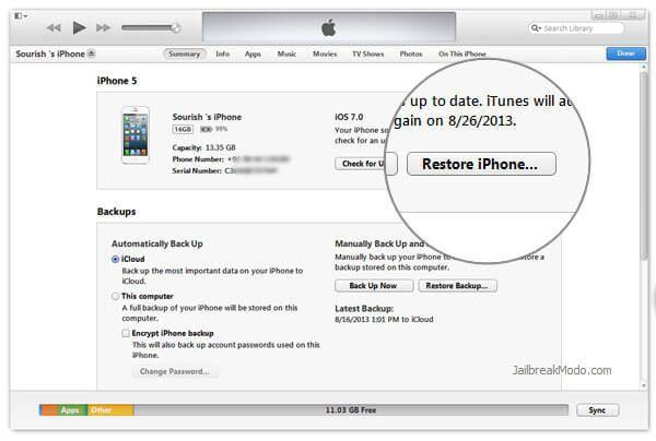 how to restore iphone from itunes new phone