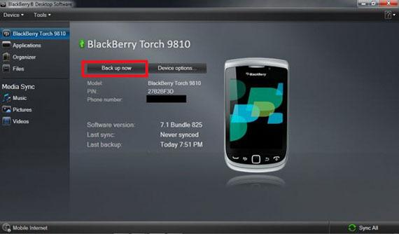 step 3 to transfer data from BlackBerry-backup and restore